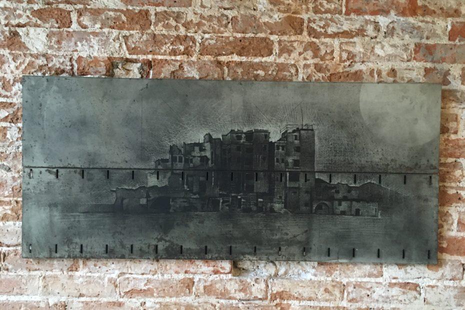 L'île - blade on metal plate - Eugene DEBBANE
