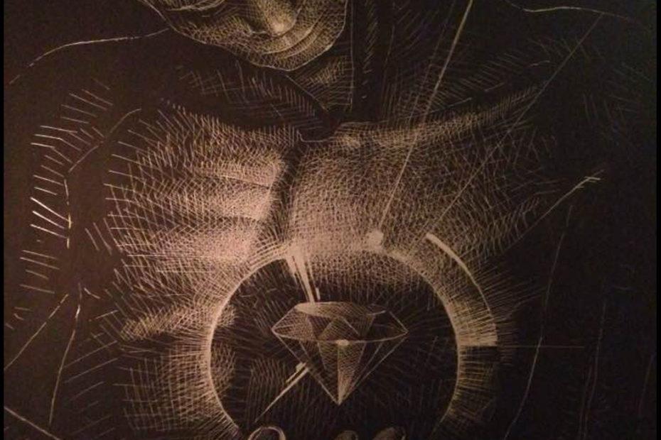 Diamond Heart - blade on metal plate - Eugene DEBBANE