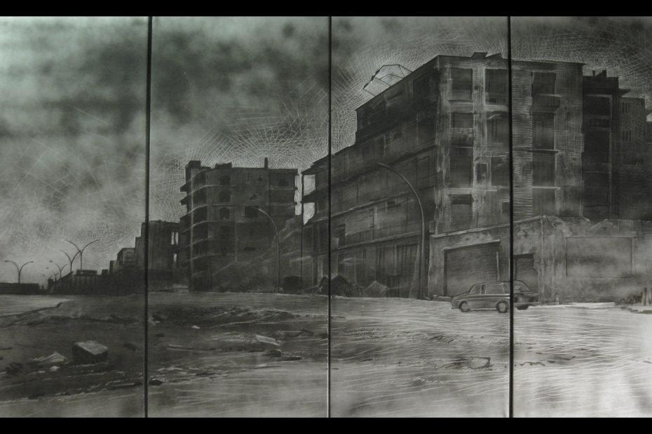 Rue de Damas - blade on metal plate - Eugene DEBBANE