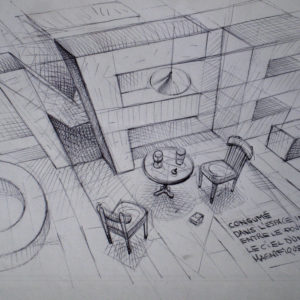 Espace infime - ink on paper - Eugene DEBBANE