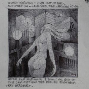 Landmine is me - ink on paper - Eugene DEBBANE