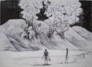 Partie de balle - ink on paper - Eugene DEBBANE