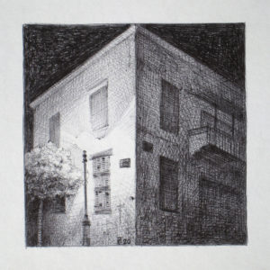 Rue Monot, Beyrouth - ink on paper - Eugene DEBBANE