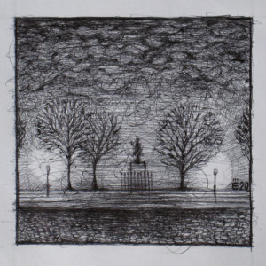 Place du Pont Neuf - ink on paper - Eugene DEBBANE