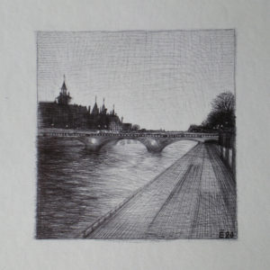 Pont au Change, Paris - ink on paper - Eugene DEBBANE